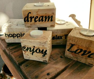 portavelas madera palet. dpales.com