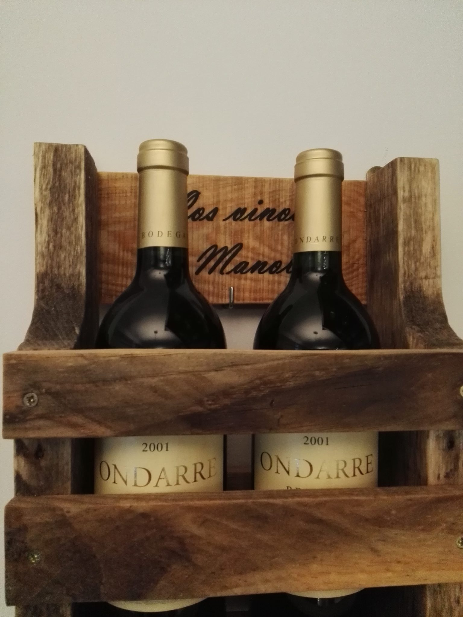 botellero madera reciclada